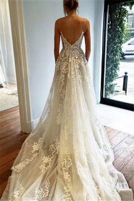 Elegant Spaghetti Straps Tulle Wedding Dresses  Lace-Applique A-line Bridal Gowns_3