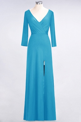 A-line Spandex V-Neck Long-Sleeves Side-Slit Floor-Length Bridesmaid Dress UK with Ruffles_22