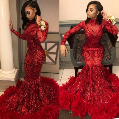 Wine Red Trumpet Sequins Long Sleeves High Neck Prom Dresses | Suzhou UK Online Shop_3