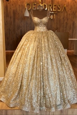 Spaghetti Straps Gold Beaded Lace Evening Dress | Luxury Ball Gown Princess Open Back Prom Dress