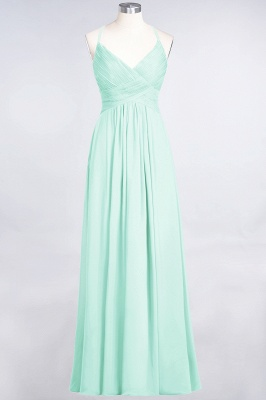 A-line Chiffon Spaghetti-Straps V-Neck Summer Floor-Length Bridesmaid Dress UK with Ruffles_34