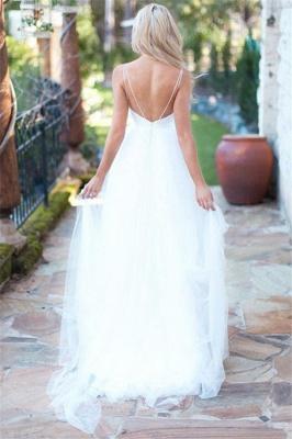 Glamorous Spaghetti-Strpas Tulle A-Line Wedding Dresses White Sweetheart Sleeveless Bridal Gowns Online_2