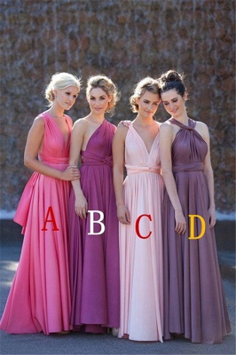 Bridesmaid Dresses  A Line Different Kinds Floor Length Sash Chiffon Summer Sleeveless Elegant Party Gowns_1
