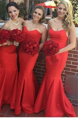 Elegant Red Mermaid Long Bridesmaid Dresses Simple  Satin Floor Length Formal Wedding Dress Under 100_1