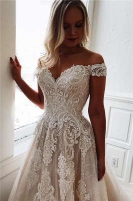 Glamorous Off-the-Shoulder Lace A-Line Wedding Dresses Sweetheart Appliques Sleeveless Bridal Gowns Online_1