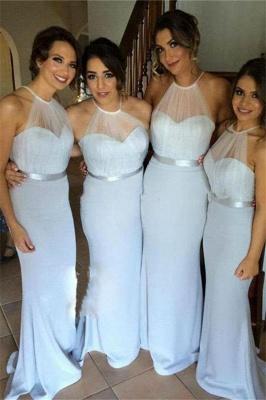 Simple Halter Long Wedding Party Dress Mermaid Floor Length Bridesmaid Dresses BO8381_2