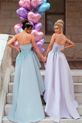 Elegant Applique Long Mermaid Strapless Bridesmaid Dress with Detachable Train_3