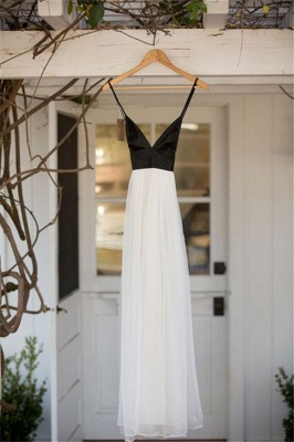 Black and White Deep V Neck Bridesmaid Dress  New Arrival Summer Party Gowns BA7240_1