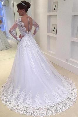 V-Neck Appliques Long-Sleeves Elegant Tulle A-Line Beadings Wedding Dress_3
