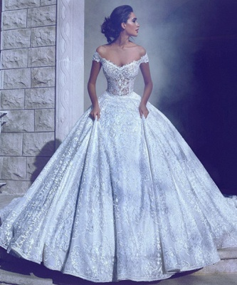 Glamorous Ball-Gown Off-The-Shoulder Wedding Dresses | Long Lace Bridal Gowns_3