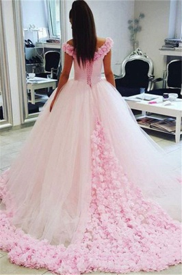 Chic Pink Off The Shoulder Evening Dresses  Ball Gown Flowers Puffy Wedding Dresses_3