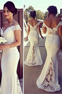 Sexy Mermaid Off The Shouler  Bridesmaid Dresses Sheer Lace V Neck Plus Size Maid Of Honor Dress_2