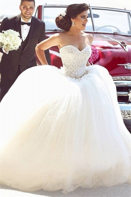 Beautiful White Sweetheart Beading Long Wedding Dress Crystal Tulle Plus Size Bridal Gowns_1
