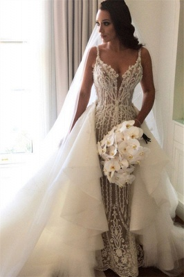Gorgeous Lace Mermaid Wedding Dresses Cheap with Detachable Train   Straps Sexy Sleeveless Bride Dress_2