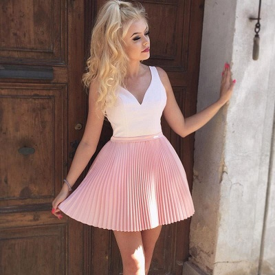 Straps V-Neck Ruffles Short Homecoming Dress_4