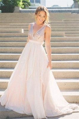 Deep V Neck Sequined Long Evening Dresses  Backless  Bridesmaid Dress with Bowknot CJ0437_1