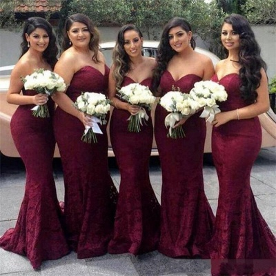 Sweetheart-Neck Mermaid Lace Long Burgundy Bridesmaid Dress_3