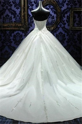 Sweetheart Beading Lace-Up Princess Dress Gorgeous Ball Gown  Wedding Gown_3
