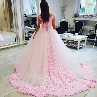 Chic Pink Off The Shoulder Evening Dresses  Ball Gown Flowers Puffy Wedding Dresses_5