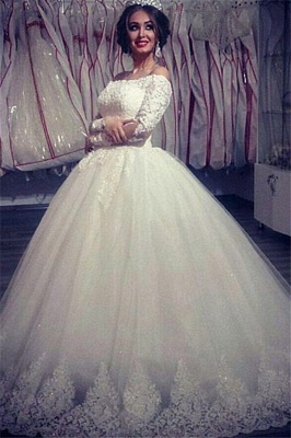 Ball Gown Wedding Dresses Long Sleeves Off Shoulder High Quality Bridal Gowns BA2878_2