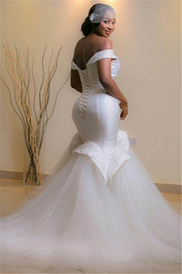 Tulle Mermaid White Glamorous Beads Sweep-Train Lace-up Off-the-shoulder Wedding Dress_3