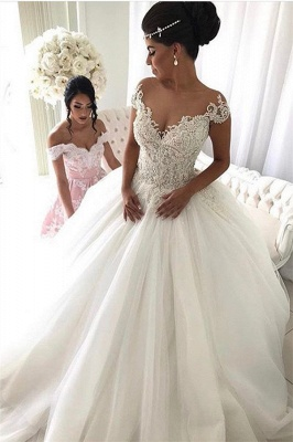 Beads Lace Royal Wedding Dresses  | Princess Ball Gown Sheer Tulle Sexy Bridal Gowns_2