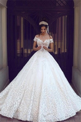 New Off-the-Shoulder Long Gorgeous Lace Short Sleeve Wedding Dresses