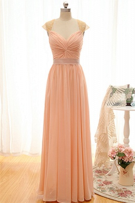 New Arrival Simple Chiffon Long Bridesmaid Dress Popular  Natural Ruffles Wedding Dresses_1