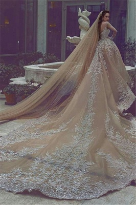 Appliques Ball-Gown Long-Sleeve Beadings Luxurious Wedding Dress_3