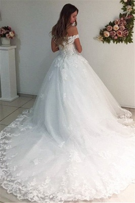 White Strapless Appliques Off The Shoulder Bride Dress  Lace A-Line Wedding Dresses_3