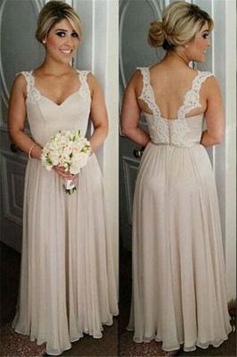 A-line Straps Floor-length Buttons Lace Bridesmaid Dresses_2