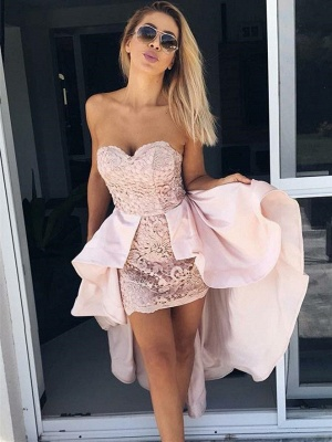 Chic Hi-Lo Sweetheart Strapless Homecoming Dress_1