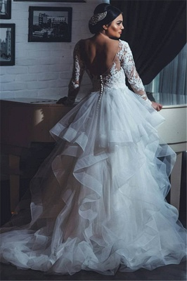 White Lace-Appliques Wedding Dresses |  Open-Back Long-Sleeves Bridal Gowns_3