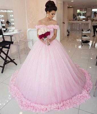Chic Pink Off The Shoulder Evening Dresses  Ball Gown Flowers Puffy Wedding Dresses_4