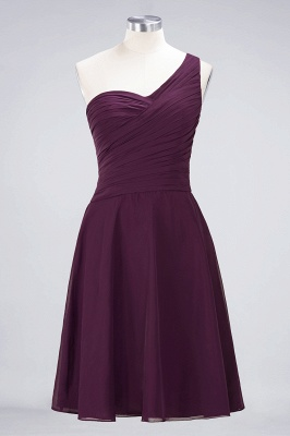 A-line Chiffon One-Shoulder Sweetheart Summer Knee-Length Bridesmaid Dress UK with Ruffles_19