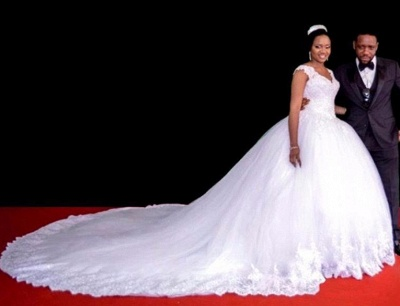Lace-Appliques Ball-Gown Gorgeous Cap-Sleeve Long Tulle Wedding Dress_6
