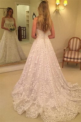 Lace Spaghetti-Straps Wedding Dress    Sweep-Train Sleeveless Bridal Gows with Buttons_3