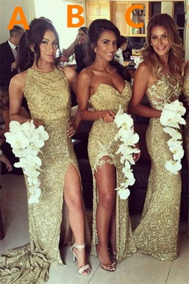 Sexy Gold Sequins  Bridesmaid Dresses Side Slit Sparkly Wedding Party Dress BO8128_2