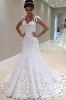 Gorgeous Lace Short Sleeves Bride Dresses  Mermaid Wedding Dress_2