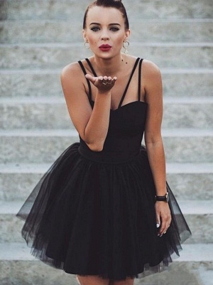 Chic Spaghetti-Straps Sweetheart Short A-Line Tulle Homecoming Dress_5