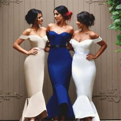 Ruffles Long Newest Off-the-shoulder Mermaid Lace-up Bridesmaid Dress BA4200_4