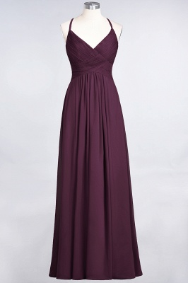 A-line Chiffon Spaghetti-Straps V-Neck Summer Floor-Length Bridesmaid Dress UK with Ruffles_19