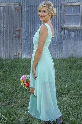 New Arrival Chiffon A-Line  Bridesmaid Dress Lace Applique Hi-Lo Wedding Party Dress_3