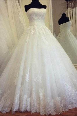 Strapless Lace Ball Gown Wedding Dress  Lace Up  Bridal Gowns_2