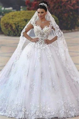 Glamorous Open Back Lace Appliques Wedding Dresses|  Bridal Ball Gowns SK0153_2
