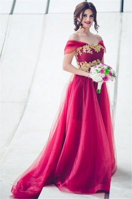 New Arrival Tulle Off-the-Shoulder A-line Appliques Bridesmaid Dress_2