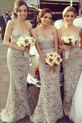 Lace  Bridesmaid Dresses Sweetheart Floor Length Charming Sexy Party Dress_1