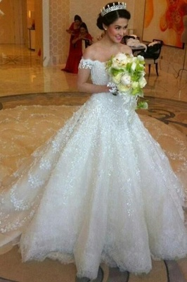 Latest Off Shoulder White Ball Gown Wedding Dress Popular Lace Court Train Bridal Gowns_3