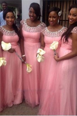 Pink Tulle Crystal Empire Short Sleeve Bridesmaid Dresses with Beadings Floor Length Cute Wedding Dress_1