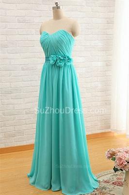 Sweetheart Blue Ruffles Chiffon Bridesmaid Dress Popular  Plus Size  Long Wedding Dress_3